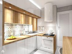 Kuchnia na Wodnej - nowa odsłona - Średnia zamknięta kuchnia w kształcie litery g, styl skandynawski - zdjęcie od pracownia2b