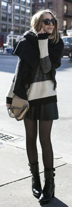 #fall #fashion / striped knit + leather