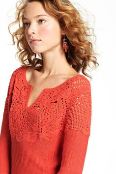 crochet dress with crochet yoke Crochet Yoke, Crochet Fabric, Crochet Clothes, Clothing Patterns, Red Hair, Pullover, Knitting, Sweaters, How To Wear