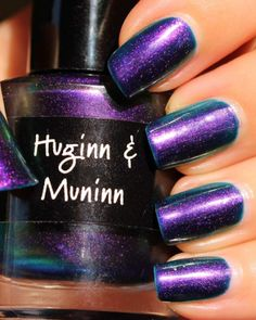 Huginn & Muninn from the 9 Realms Collection by CrowsToes. A sultry purple pearl with strong green flash, a must have for any polish aficionado. Nail Polish Brands, Purple, Pink, Nail Art, Colours, Nails, Buckets, Beauty, Bottles