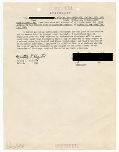 """""""I HEREBY ACCEPT AN UNDESIRABLE DISCHARGE"""" 1951 Military officials frequently interrogated soldiers to force a confession of homosexuality. Many soldiers confessing to or suspected of homosexuality agreed to sign a statement such as this one, accepting an undesirable discharge and acknowledging loss of his or her veteran's rights."""