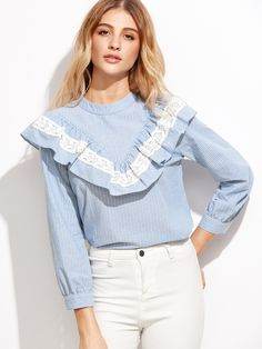 Shop Vertical Striped Lace Detail Frill Trim Blouse online. SheIn offers Vertical Striped Lace Detail Frill Trim Blouse & more to fit your fashionable needs.
