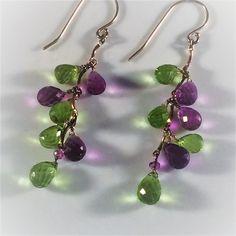 """Sterling Faceted Amethyst & Peridot Dangling Briolette Earrings, Stylized Grape Bunch, 2.25"""" Long"""