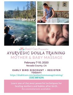 Come learn the much in demand Ayurvedic Postpartum Mother & Baby Massage this February in CA! Perfect for massage therapists doulas Ayurveda practitioners and other interested birth professionals. Postpartum Diet, Postpartum Recovery, Postpartum Depression, Baby Massage, Massage Oil, Ayurveda, Doula Training, Ayurvedic Oil, Massage Business