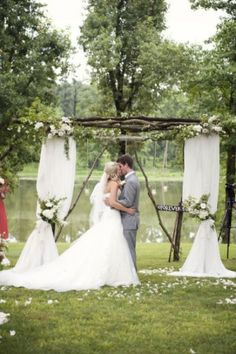 country wedding alter ideas Rustic Wedding Altars NH New Hampshire sticks and wood, with curtains and flowers- arch