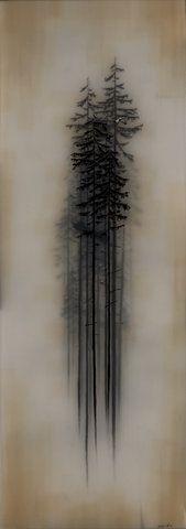 trees, art, encaustic, wax