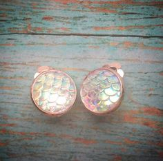 Clear Mermaid Scale in Rose Gold Clip-on Studs