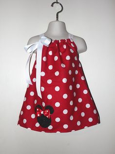 Red Minnie Mouse Dress and Hair Bow Set by SweetberryBoutique