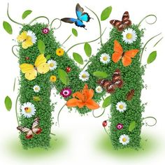 Beautiful spring letter M  Stock Photo