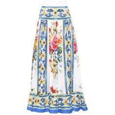 Dolce & Gabbana Printed Cotton Maxi Skirt ($1,260) ❤ liked on Polyvore featuring skirts, multicoloured, multi color maxi skirt, maxi skirts, white skirt, colorful maxi skirts and dolce gabbana skirt
