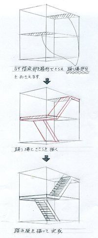 Identify the box to occupy stairs Make planes for stairs Add details Staircase, stairwell, twisting Drawing Skills, Drawing Lessons, Drawing Techniques, Drawing Tips, Sketches Tutorial, Perspective Drawing, Interior Sketch, Technical Drawing, Designs To Draw