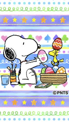 Snoopy and Woodstock Coloring Easter Eggs