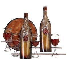 Add a fabulous new look to an empty space on your kitchen or patio wall with this beautiful decorative metal wall decor. The Tuscan-themed art depicts wine bottles and glasses on display in a range of vibrant copper and rusted orange colors.