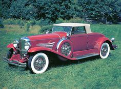 Cars 1928 Duesenberg Convertible Coupe Red Fvl