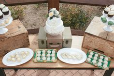 Gorgeous rustic emerald and gold dessert bar by Bakery. Grande Hall at Hofmann Ranch, Castroville TX Gold Dessert, Dessert Bars, August Events, Lucky In Love, San Antonio, Love Fashion, Catering, Wedding Cakes, Sweet Treats