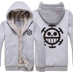 Vicwin-One One Piece Trafalgar D Water Law Logo Thick Hoodie Cosplay (Size XXL) ** For more information, visit image link.