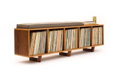 This bench is the ideal solution to having records sitting all over your house and no place to sit. This is an original design, but with a Ikea Record Storage, Ikea Vinyl Storage, Lp Storage, Storage Cubes, Book Storage, Danish Furniture, Grey Furniture, Modern Home Furniture, Mid Century Modern Furniture