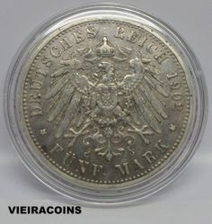 """1902 A  GERMANY STATES  PRUSSIA   5 MARKS  """"SILVER""""  -  KM # 523  -  RARE- #3788"""