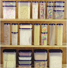 To help with the clutter in your pantry, try using matching tupperware bins in assorted sizes for storing cereals, popcorn, pasta and other snacks. The photo below is my dream pantry (but close to impossible to maintain with teenage kids in the house).