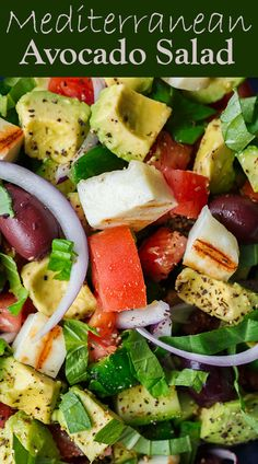 Simple Mediterranean Avocado Salad | The Mediterranean Dish. The BEST avocado salad, prepared Mediterranean style with tomatoes, cucumbers and a the perfect garlic vinaigrette! Use grilled halloumi cheese for croutons, or leave them out for a vegan option. #avocado #avocadosalad #mediterraneandiet #mediterraneanfood #salad #avocados #vegetarianrecipes #glutenfree