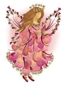 Fairy Art Pressed Flowers 8 x 10 Print by fairyblossomdesigns