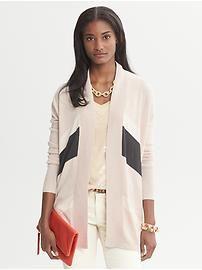 Chevron Stripe Long Open Cardigan