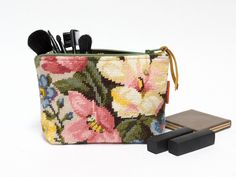 Floral Needlepoint Cosmetic bag - French Tapestry Zipper Pouch - pinned by pin4etsy.com