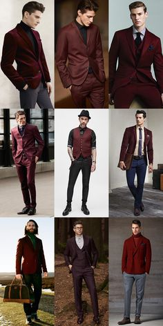 Men's Burgundy Tailoring and Suits - Autumn/Winter Outfit Inspiration Lookbook