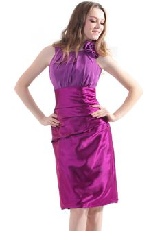 Vampal Violet Sheath Jewel Knee-Length Bridesmaid Dress With Flower Detail Knee Length Bridesmaid Dresses, Bridesmaid Dresses Online, Bridesmaids, Girl Outfits, Fashion Outfits, Special Occasion Dresses, Daily Fashion, Blouse Designs, Beautiful Outfits