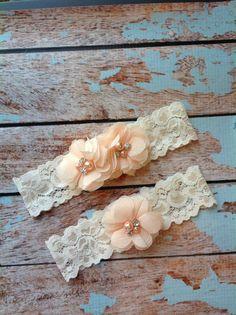 PEACH  CHIFFON  wedding garter set / bridal  garter/  lace garter / toss garter included /  wedding garter / vintage inspired lace garter on Etsy, $24.99