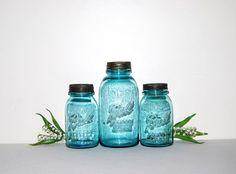 Aqua Blue Jars by CheekyVintageCloset on Etsy, $36.00