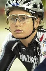 Sarah Ulmer - gold medalist, NZ cycling legend. I remember getting up in the middle of the night to watch her win gold. Blew the Aussie off the track!