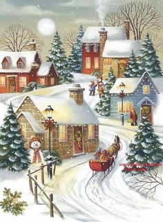 Autone Christmas Snow Scene DIY Full Diamond Embroidery Painting Cross Stitch Craft Home *** You could get added information at the photo web link. (This is an affiliate link). Noel Christmas, Vintage Christmas Cards, Vintage Holiday, Winter Christmas, Christmas Crafts, Christmas Decorations, Winter Snow, Christmas Greetings, Christmas 2019