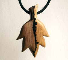 Wood Leaf Necklace Wooden Pendant Hand Carved. by FluffyFenris