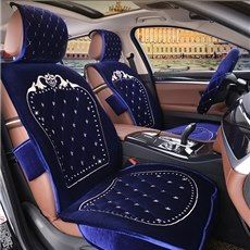 Best Selling Classic Designed Embroidered Plush Five Seats Cover Set