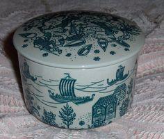 Vtg Nymolle Art Paience Hoyrup Folk Art Trinket Box Denmark Ceramic Covered Bowl