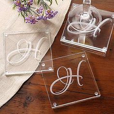 Wedding Gifts Diy Initial Impressions Glass Coaster Set - Discover a gorgeous selection of personalized housewarming gifts that will beautify any home or living space. Create your own unique housewarming gifts today at Personalization Mall. Glass Block Crafts, Glass Blocks, Dremel, Glass Engraving, Engraving Ideas, Personalized Coasters, Personalized Wedding, Personalized Housewarming Gifts, Monogram Coasters