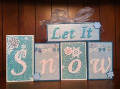 Let it Snow Winter Christmas Wood Blocks by christysoltes on Etsy, $23.00