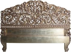 B 067 - Heavy Carved Headboard Painted Antique gold1