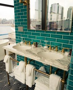 "The Williamsburg Hotel, teal tile, brass fixtures, marble sinks, art deco floor "" Bad Inspiration, Bathroom Inspiration, Brooklyn Hotels, Soho House Berlin, Williamsburg Hotel, Turquoise Bathroom, Teal Bathrooms, Bathroom Interior, Paint Bathroom"