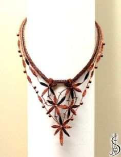 Necklace No. 10958     Dark copper, black silk and copper beads. Price: € 42 Other color variations are in the catalog.  ............................  Protected by copyright!