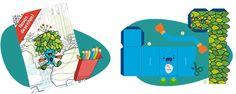 Mascotes para colorir e para um paper toy, brinquedo de papel
