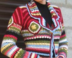 crochet coat with motifs squareshandmade itemgift ideas image 5 Crochet Hippie, Pull Crochet, Crochet Coat, Crochet Jacket, Crochet Cardigan, Crochet Shawl, Crochet Clothes, Patron Crochet, Warm Outfits