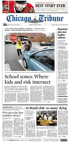 Jan. 28, 2013: Best. Start. EVER for the Blackhawks. And kids struck by vehicles when they are close to school.