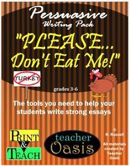 """Persuasive Writing Prompt """"Please Don't Eat Me!"""" - One of our best selling prompts that engages kids to write persuasive essays during the holidays.  Our way of saying """"Happy Thanksgiving"""" to you!  All of our Thanksgiving products are on sale till the end of November..  A GIVEAWAY for Persuasive Writing Prompt """"Please Don't Eat Me!"""" from Teacher Oasis on TeachersNotebook.com (ends on 11-27-2016)"""