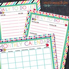 i should be mopping the floor: Free Printable Daily, Weekly, and Monthly Calendars