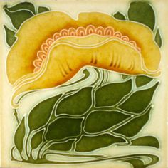 """Organic Art Nouveau at its best from Marsden c1905/6 Rare because its one of a handed pair, see my book """"Art Nouveau Tiles with more Style"""" tile numbers 902& 903 to see the full beauty of the pair together."""