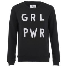 Zoe Karssen Women's GRL PWR Sweater - Black ($145) ❤ liked on Polyvore featuring tops, sweaters, black, relaxed fit tops, raglan top, crewneck sweater, ribbed top and quilted top