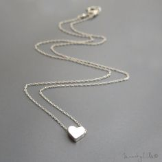 Tiny Silver Heart Necklace Sterling Silver Necklace by MuseByLAM
