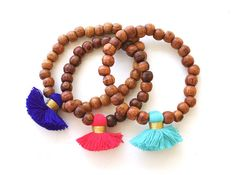 Wood Bead Tassel Bracelet Sets-(more colors)